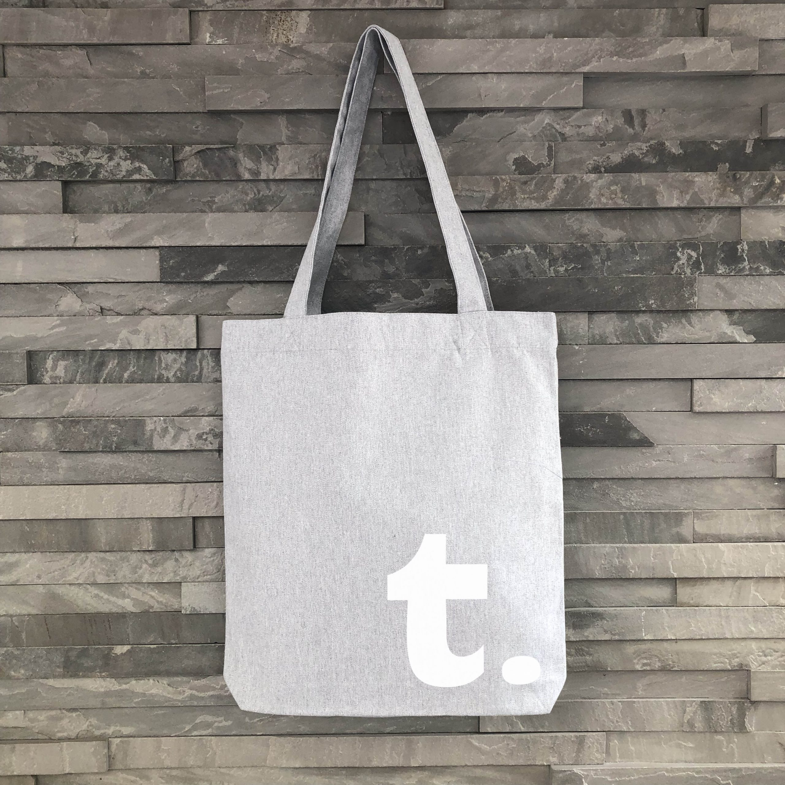 Tote-Grey-White-Initial - Harrow & Green